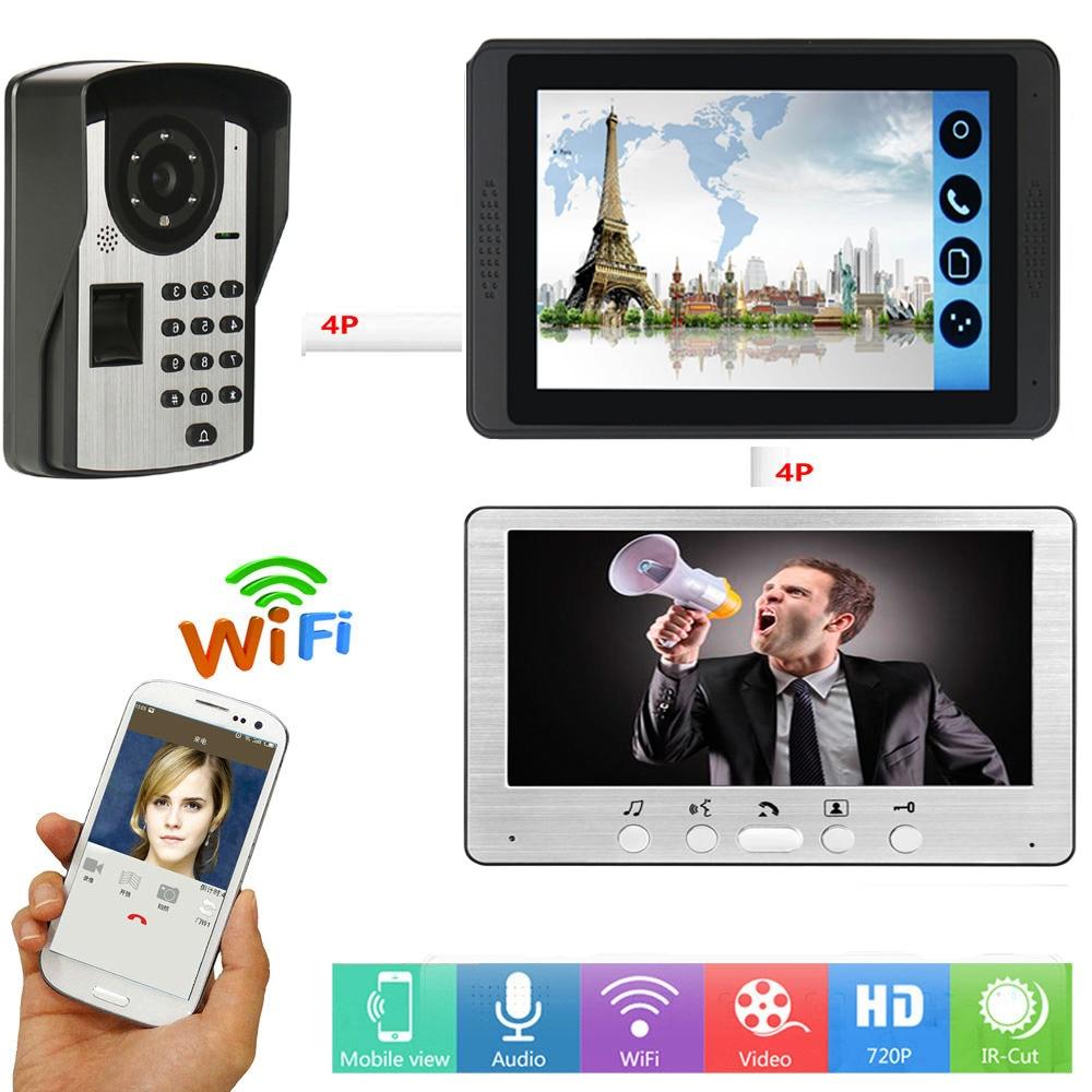 Password Fingerprint Unlock Video Intercom 7 Inch LCD Wifi Wireless Video Door Phone APP Control Visual Doorbell Intercom System