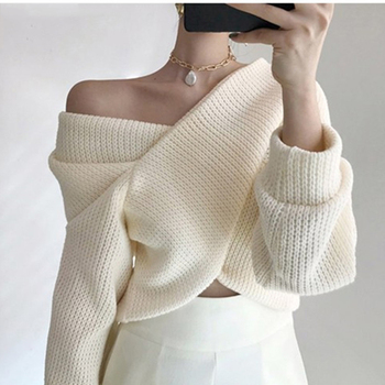 Ailegogo 2020 Autumn Winter Women Pullover V-neck Sexy Off Shoulder Sweater Knitted Stylish Casual Korean Female Jumpers SW3053 1