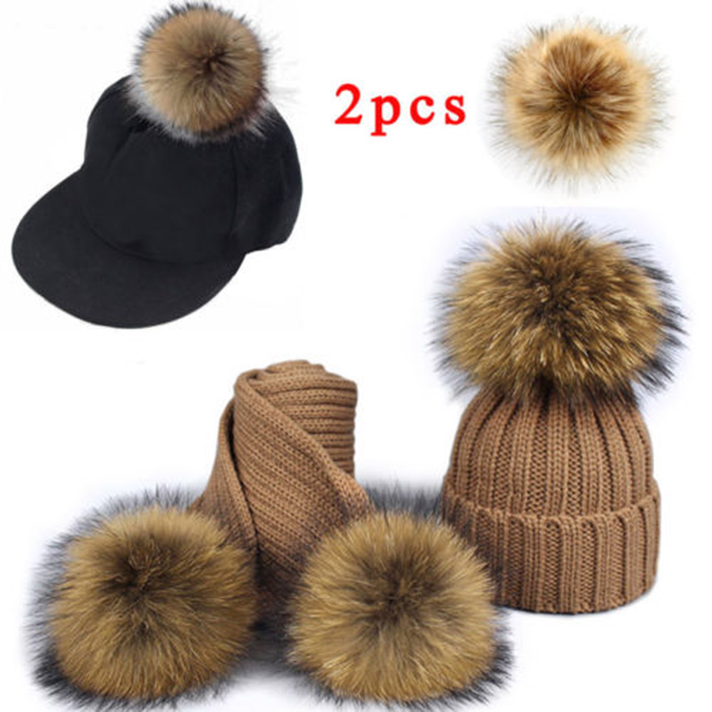 2Pc 10cm False Hairball Hat Ball Pom Faux Raccoon Fur Hair Big Ball Fluffy Pompom Pendant Hat Bag Shoes Fashion Cap Accessories