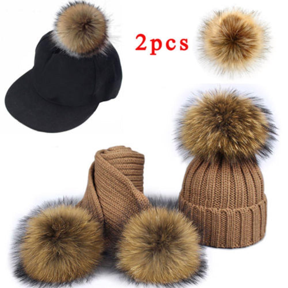 2Pc False Hairball Hat Ball Faux Raccoon Fur Hair DIY Fluff Balls For Girls Children Hats Key Chain Scarf Pom Cap Accessories