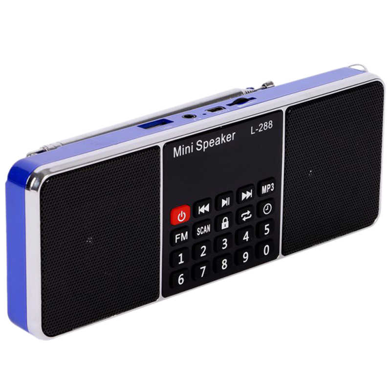 Mini portátil recargable estéreo L-288 FM Radio altavoz pantalla LCD soporte tarjeta TF disco USB reproductor de música MP3 altavoz (azul)