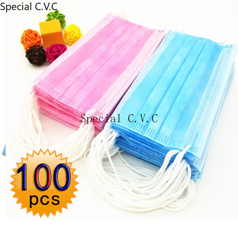 100Pcs/Set New Three Layers Non-woven Mask Men And Women Disposable Face Mouth Mask Light Weight Breathable Dust-proof 6 Colors