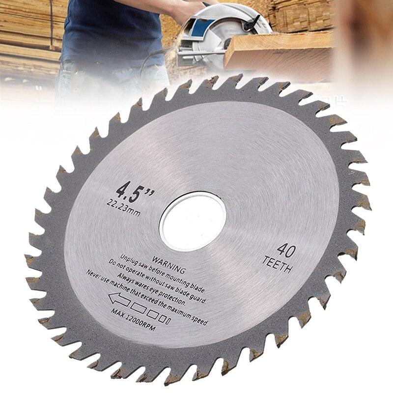 40 dentes circular lâmina de serra moinho roda corrente disco 4.5 Polegada 115mm para ângulo moedor escultura em madeira corte disco ferramentas elétricas