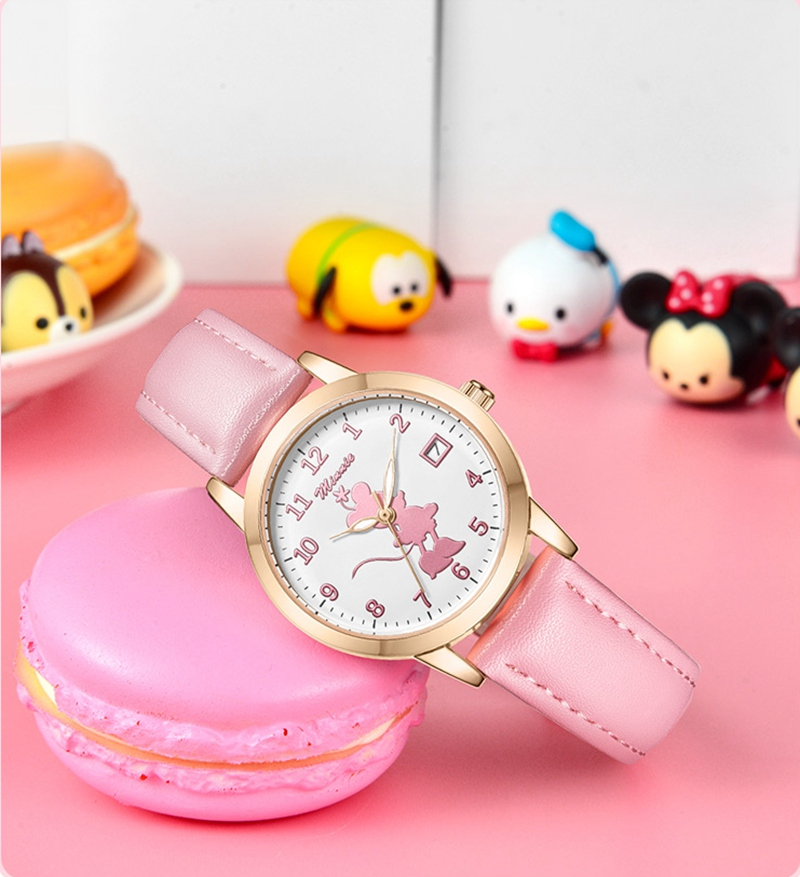 2020 подросток девушка Минни календарь часы милый леди дети мягкий PU ремешок светящийся наручные часы ребенок студент часы повседневный время подарок