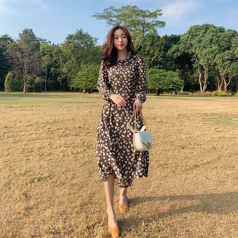 2020 Spring New Style Korean-style Elegant High-waisted Skirt Lace-up Mid-length Floral Dress Spring WOMEN'S Dress Spring