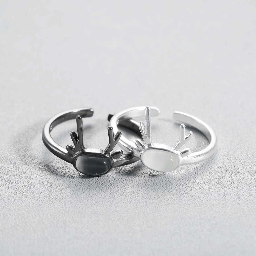 สีขาวสีดำแหวนกวาง Antler สัตว์หินคริสตัลแหวนผู้หญิงเครื่องประดับ Minimalist Mom Best Friend Chirstmas ของขวัญปรับ