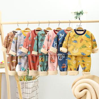 Winter Kids Clothing Sets Warm Fleece Pajamas For Boys Girls Thicken Children Dinosaur Sleepwear Baby Thermal Underwear Pyjamas