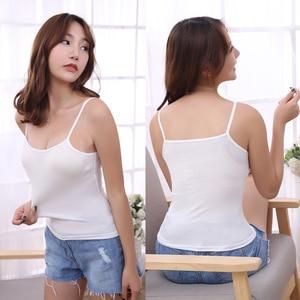 Image 5 - נשים סקסי גופיות נקבה Slim ללא שרוולים מקרית Vest חולצה מוצק צבע יבול למעלה לנשים כושר Vest שחור לבן טנק