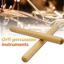 Orff-baquetas de ritmo cardíaco clásicas, instrumento de percusión de madera dura, 2 pares, baquetas de ritmo de 8 pulgadas con bolsa de transporte