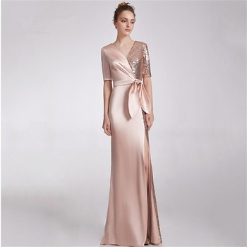V-neck Elegant Half-Sleeve Evening Dress Bow Waist Formal Women Long Dress Satin & Sequins Prom Robe 2020 New Fashion Dress 2019 spring new women half sleeve loose flavour black dress long summer vestido korean fashion outfit o neck big sale costume