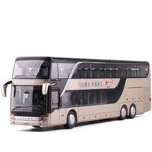 Alta simulação 1/32 liga diecast ônibus som e luz ônibus modelo de ônibus de dois andares veículo de ônibus de luxo de metal para meninos brinquedos