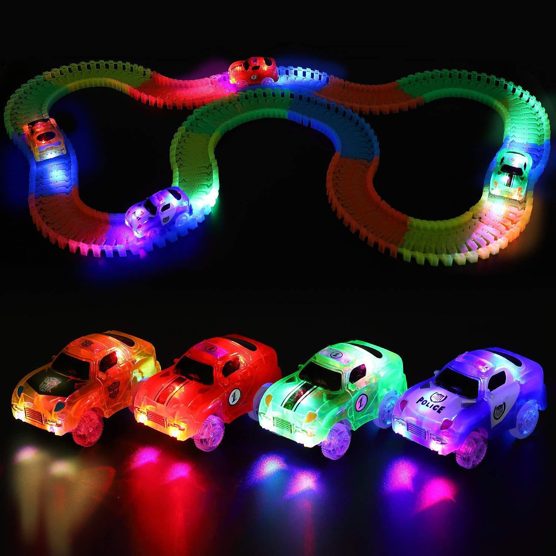 5.4cm Magic Electronics LED Car Toys With Flashing Lights Educational Toys Electronics Glow Car Lights Glowing Racing Toy