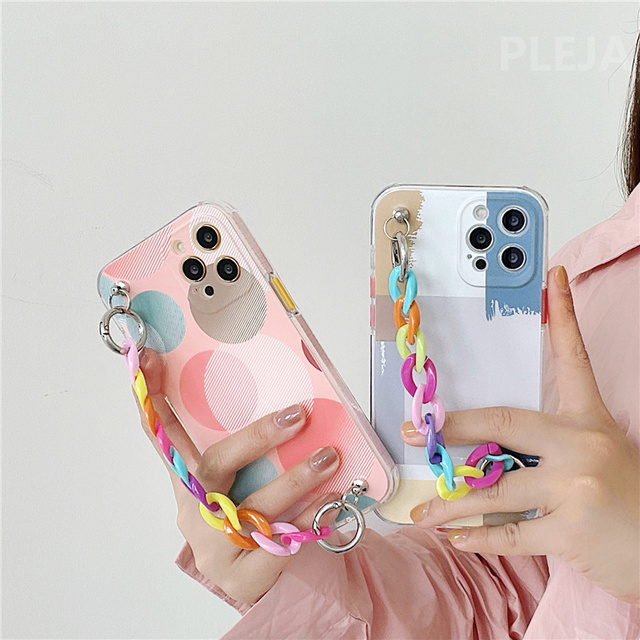 Art Geometric Pattern Chain Wrist Strap Phone Case For iphone 12 mini 7 8 plus X XR XS Max SE 2020 11 Pro Max Cute Soft Cover