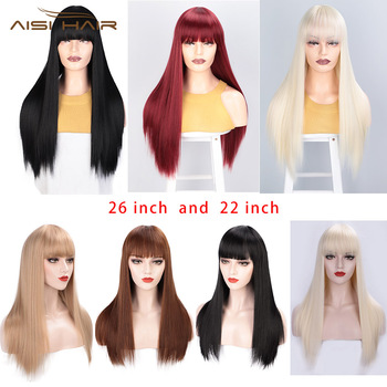 I's a wig Black Long Straight Wig With Bangs Synthetic Hair Wigs for Women 613 Blonde Red Heat Resistant Cosplay Wigs 6