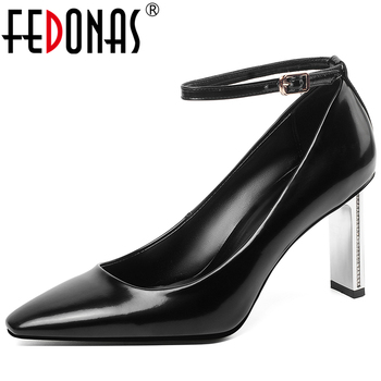 FEDONAS 2020 Spring New Mature Elegant Concise Women Cow Patent Leather Pumps Ankle Strap Party Wedding Shallow Shoes Woman
