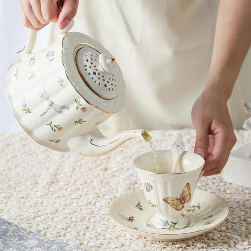 Inseto copo de café cerâmica tarde drinkware manual gilt chaleira copo pires terno placa sobremesa vegetal estilo retro bule