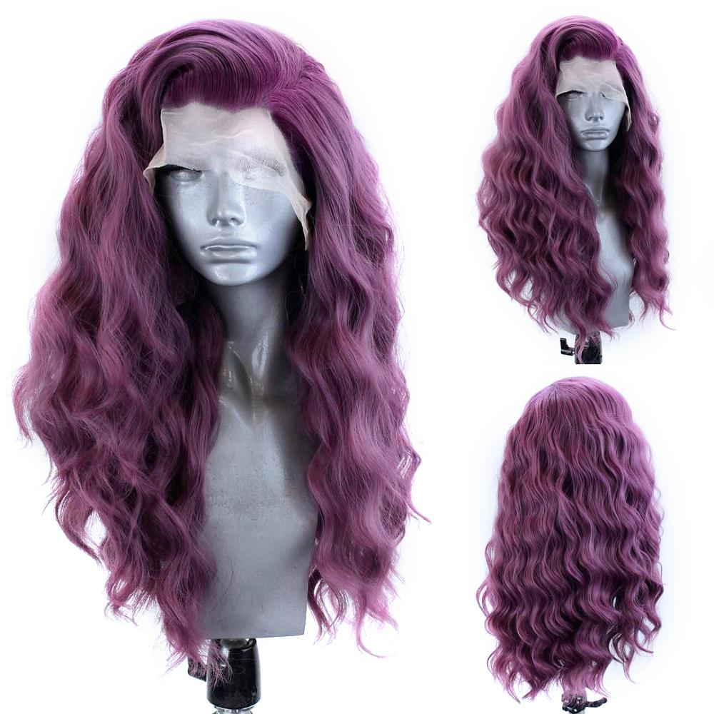 Peruca sintética do laço da onda do corpo longo peruca dianteira do laço do cabelo da fibra resistente ao calor perucas do laço para as mulheres borgonha peruca vermelha