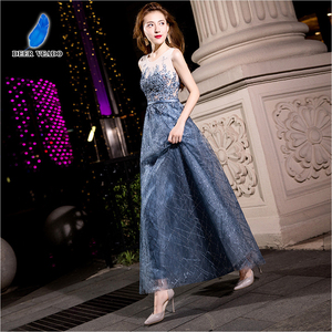 Image 1 - DEERVEADO MXN102 Sexy See Through Long Prom Dresses A Line O Neck Beading Occasion Party Dresses Prom Gown Vestido de Festa