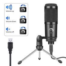 Usb Plug Podcast Microphone Desktop Tripod Stand Laptop Professional Studio Condenser Mic with Sound Card  Youtube Recording usb studio condenser supercardiod samson c01u pro microphone with tripod stand