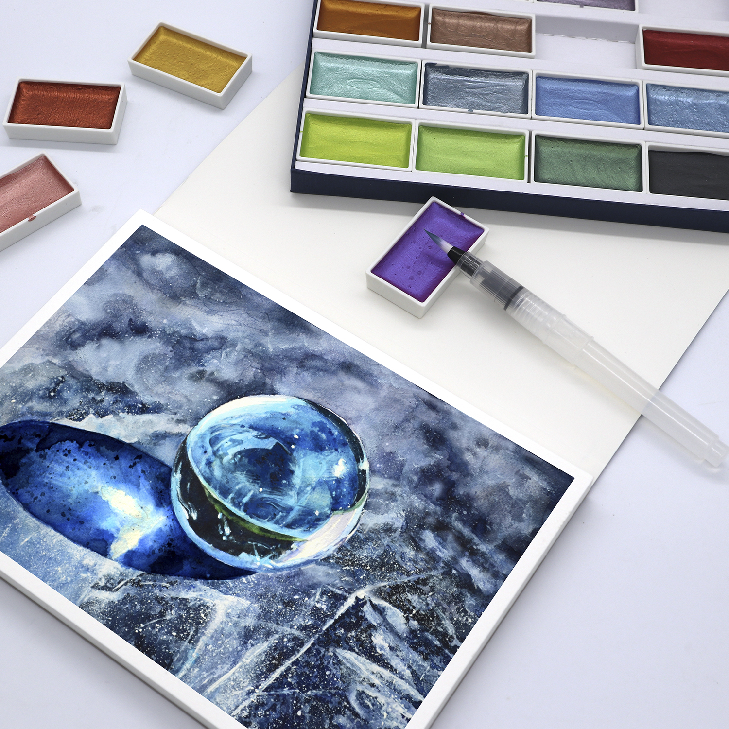 Image 5 - SeamiArt 24Color Semi Dry Glitter Metallic Watercolor Paint Gift Box Set Artist Watercolor Pearl Pigment for Drawing SuppliesWater Color   -