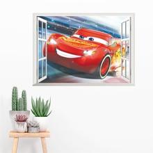 3d effect 50*70cm disney cars window wall stickers bedroom home decor cartoon mcqueen decals pvc mural art diy posters