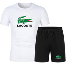 Casual Men's Sets Summer Tracksuit Men Print Short Sleeve T-Shirt 2 Piece+Shorts Quick Drying Short Set Fashion Sportswear Hot