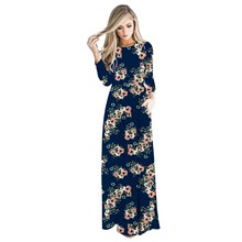 Fall Floral Printed A-Line Long Dress Women Sleeve Maxi Dresses Autumn Summer Vintage Boho Pockets Sundress Plus Size