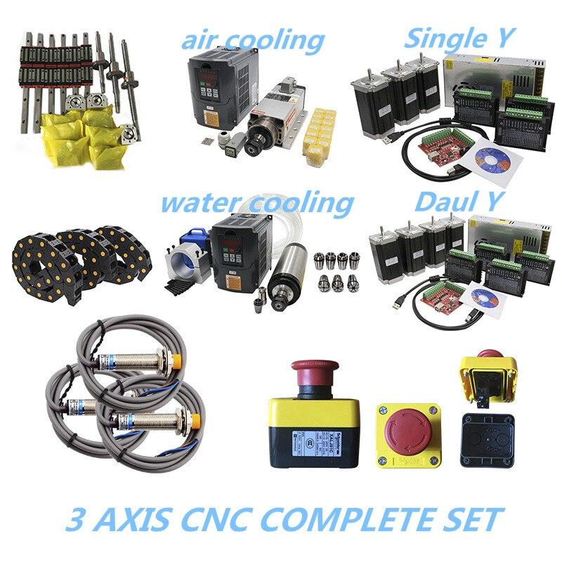 2020 di Promozione 3 aixs CNC SET completo di guida lineare vite a sfere del motore passo a passo mandrino cavo catena per CNC builde