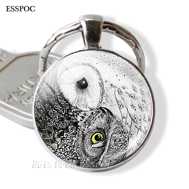 Yin Yang Owl Pendant Keychain Yin Yang Key Chain Rings Zen Spiritual Yoga Jewelry