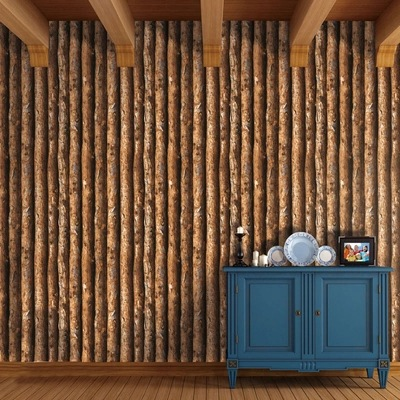 Manufacturers Direct Selling 3D Wood Forest Trees Wallpaper Retro Imitation Bark Restaurant Cafe Internet Cafe Wallpaper