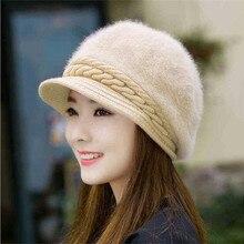 Женская зимняя шапка Skullies, вязаная шапка с кроличьим мехом, шапка с конским хвостом, осенне-зимняя теплая шапка с дырками, шапки для девочек
