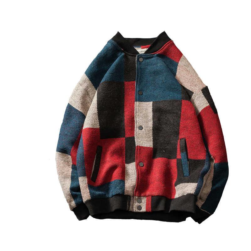 Casaco de lã xadrez bombardeiro masculino fashions hip hop streetwear 2020 outono primavera oversize jaqueta