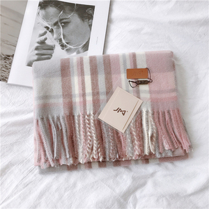 Image 2 - Luna&Dolphin Women European Big Shawl 200x60cm Wool Winter Plaid Color Matching Pink Wool Stole Pashmina Tassel Blanket Scarf