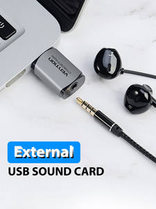 Vention Sound Card USB Audio Interface External Sound card USB Adapter 3.5mm For Laptop Speaker PS4 Earphone USB Mic SoundCard