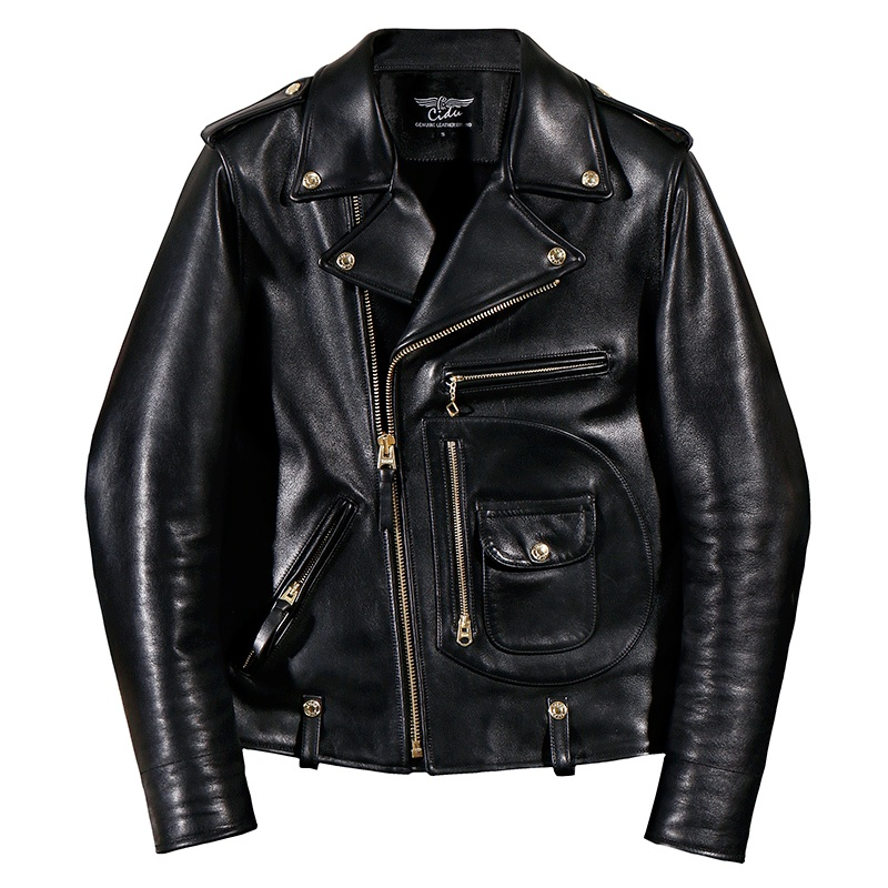 YR!Free Shipping.Italy Luxury Batik Cowhide Jacket,motor Biker Style Leather Jackets,J24 Man Vintage Genuine Leather Coat,