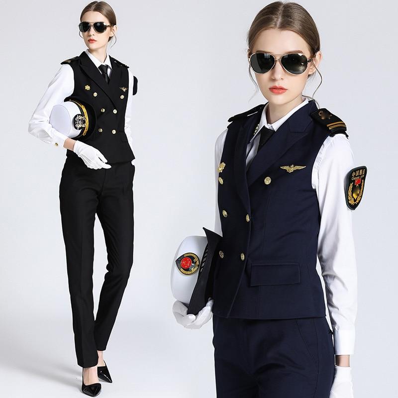 Chinese Navy Seawoman Uniform woman Captain Shoulder Seal Standard Uniform cosplay KTV Bar vest + Shirt + Pants Servant Workwear