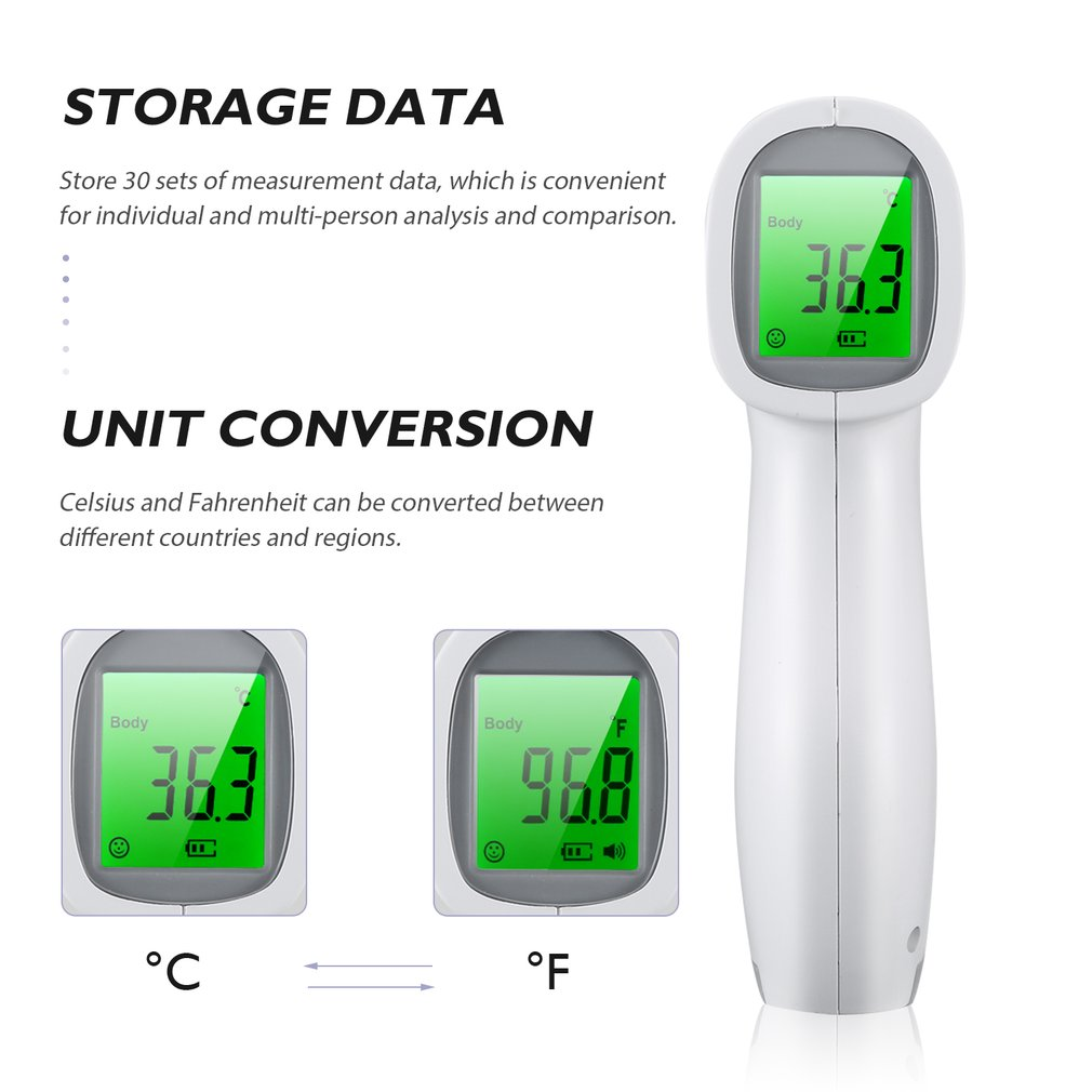 Forehead Thermometer Infrared Digital LCD Body Temperature Measurement Ear Non-Contact Adult Body Fever IR Children Termometro