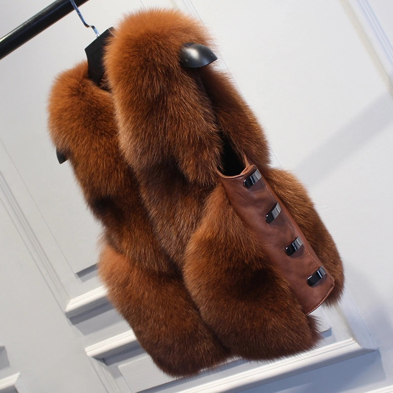 2019 Winter Real Fox Fur Vest Women Natural Fox Fur Coat Sleeveless Leather Jacket Outwear