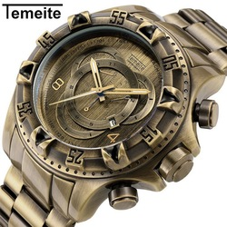 TEMEITE New Fashion Brand Retro Bronze Quartz Watches Men Watch Army Military Stainless Steel Wristwatches Waterproof Male Clock