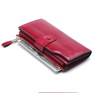 Image 3 - New Women Genuine Leather Wallets Female Zipper Purses Big Capacity Woman Purse Ladies Long Hasp Wallet Clutch Coin Card Holders
