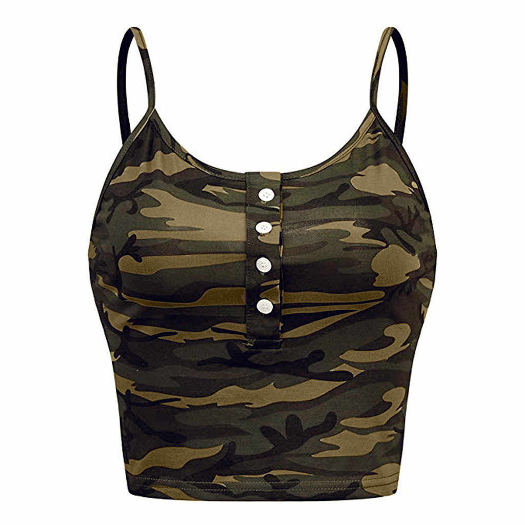 הסוואה נשים ללא שרוולים טנק O-צוואר כפתור עד מקרית הדפסת אפוד Camis הגופייה Tshirt haut debardeur femme הלטר למעלה