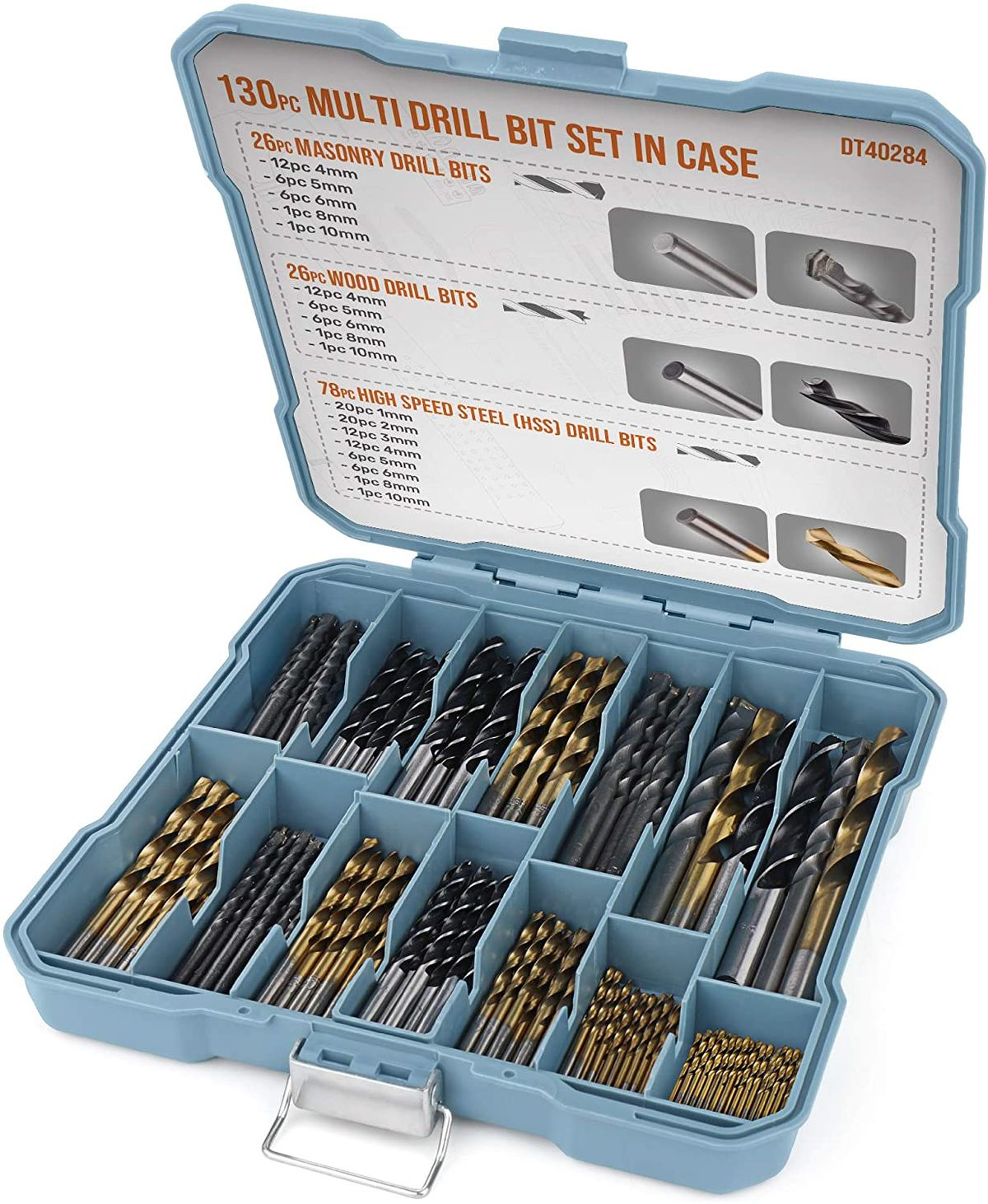 Hi-Spec Drill-Bit-Set Power-Tool-Accessories Masonary-Drill Woodworking Metal Plastic