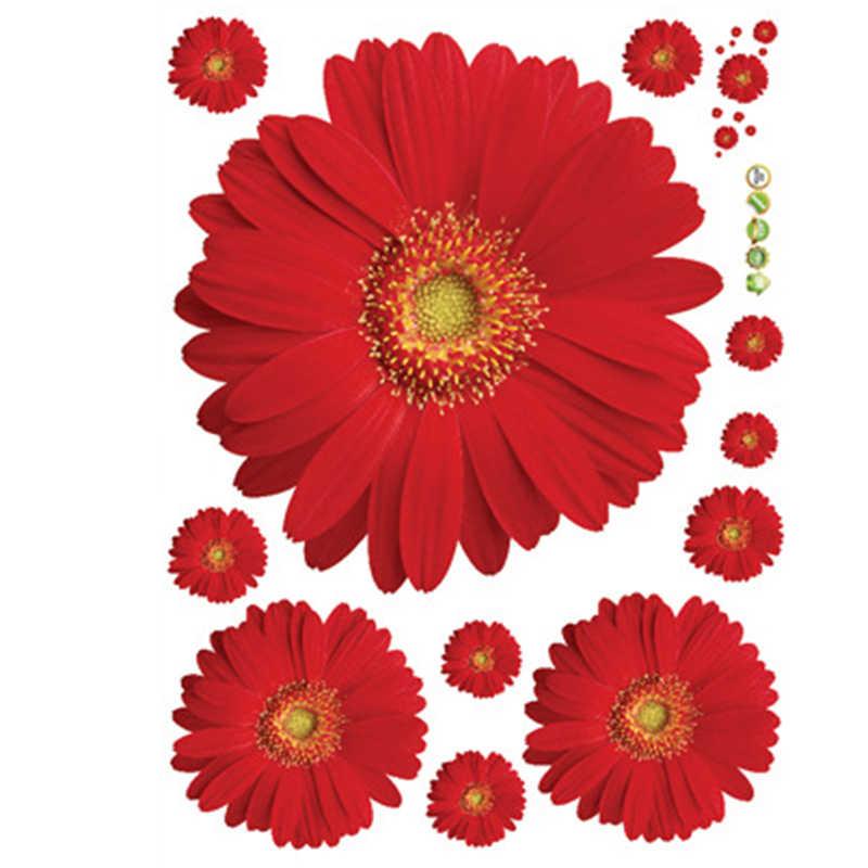 Fiori Adesivi Murali FAI DA TE Smontabile del PVC Decalcomanie Giallo Rosso Rosa Per La Finestra Della Decorazione Della Camera Da Letto Adesivi Murali Decorazioni