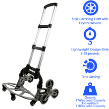 150kg All Terrain Stair Climbing Cart Hand Truck with Bungee Cord Portable Folding Trolley for Upstairs Cargo with bag