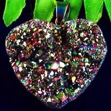 Rainbow Crystal Agate Druzy Quartz Geode Heart Pendant Bead
