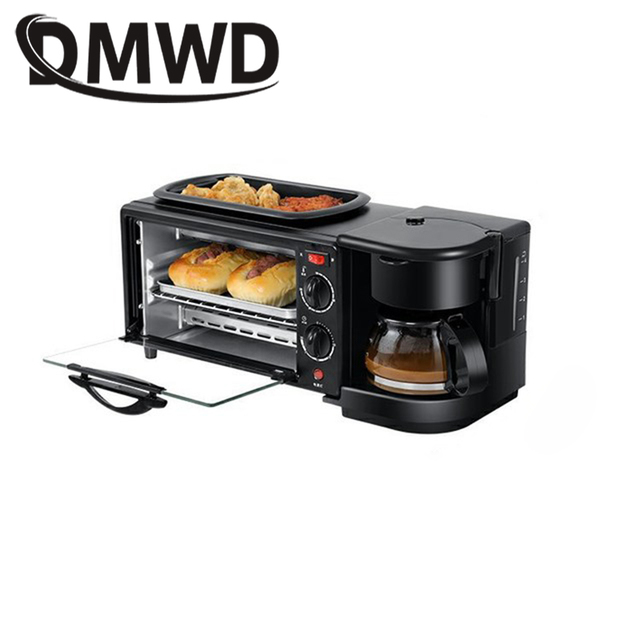 DMWD Electric 3 in 1 Breakfast Machine Multifunction Mini Drip American Coffee Maker Pizza Oven Egg Omelette Frying Pan Toaster 5