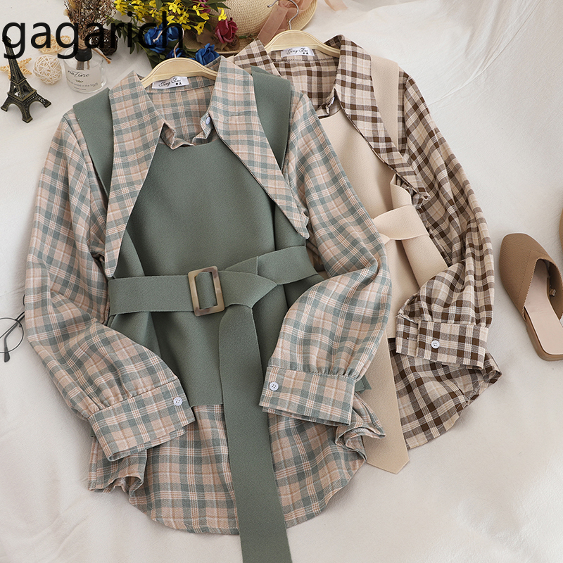 Gagarich Women Two Piece Set Autumn Winter 2020 Fashion Female Collar Lace Up Plaid Shirt Waistband Thin Vest Suit Trend