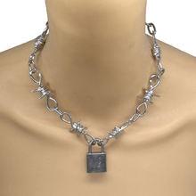 Ожерелье с подвеской замком в стиле панк