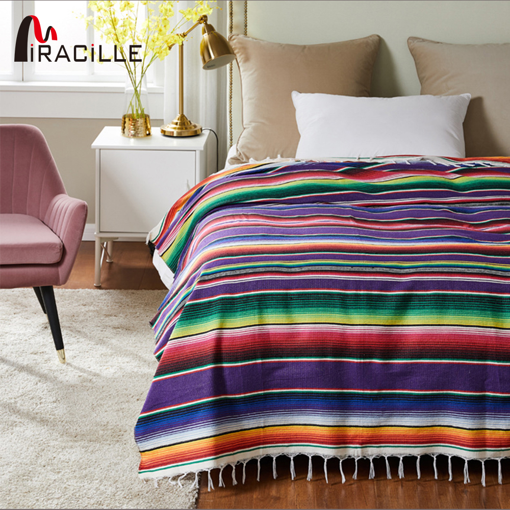 Miracille Mexican Blanket Cotton Handmade Rainbow Beach Blankets Home Tapestry Sofa Cover Camping Picnic Travel Plane Mat image