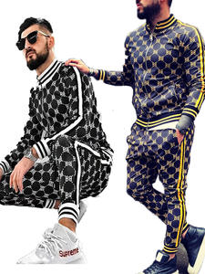 Mens Set Tracksuit-Set Sweatshirt Jackets Plaid Fashion Casual New Male Autumn Zipper-Set